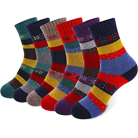 MOSOTECH 6 Pairs Women Thermal Socks, Warm Wool Socks with Thicken Terry, Colourful Socks for Ladies and Girls, UK Size 4~8