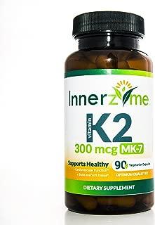 Innerzyme Vitamin K2 MK7 90 VEGETARIAN capsules -supports immune, brain, cardiovascular, bone and dental health. Maximum potency