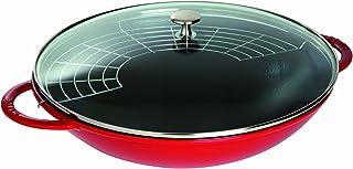 STAUB Wok en Fonte, Couvercle Verre et Grille Amovible Inclus, Adapté à la Chaleur à Induction, Ø 37 cm, 5,7 L, Rouge Cerise