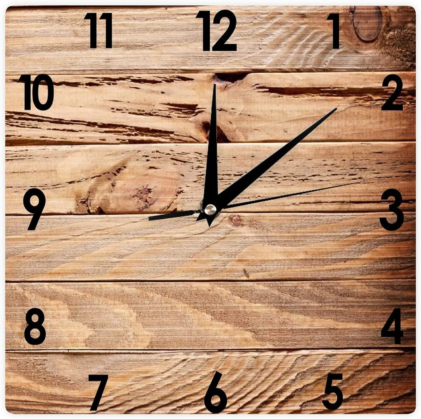 Aihesui Chicago Mall Decorative Square Wooden Hanging Don't miss the campaign Clock Retro Wall Rustic