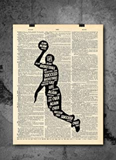 Michael Jordan - Why I Succeed - Inspirational Quote Art - Vintage Dictionary Print 8x10 inch Home Vintage Art Abstract Prints Wall Art for Home Decor Wall Decorations Ready-to-Frame