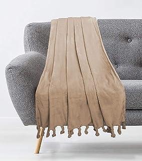 Universal Home Fashions Plush with Tassles Throw Blanket Sand, 50x60