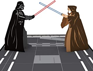 Star Wars Obi-Wan vs. Darth Vader Pop Up Card, tarjeta 3D, tarjeta de cumpleaños Star Wars tarjetas de felicitación, tarjeta para papá, tarjeta de cumpleaños para niños