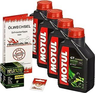 Motul 10W 40 Öl + HiFlo Ölfilter für Kawasaki VN 900 Classic/Custom, VN900B VN900C   Ölwechselset inkl. Motoröl, Chrom Filter, Dichtring