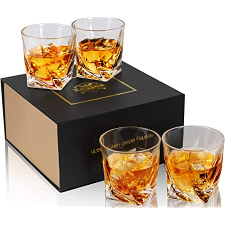 KANARS Crystal Whiskey Glasses with Gift Box, Twisted Rocks Glasses for Bourbon, Scotch or Whisky, Old Fashioned Cocktail Tumblers Set of 4