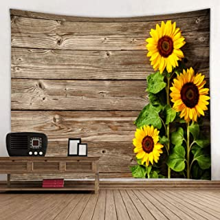 Old Wooden Board Sunflower Print Fabric Tapestry Decorative Wall Art Tablecloth Bedspread Picnic Blanket Beach Throw Blanket for Bedroom Hall Dormitory Living Room Hanging 91 x 71 inches
