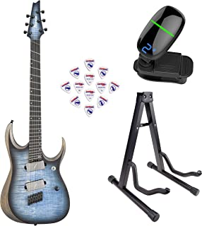 Ibanez RGDIM6FM RGD Iron Label Series Multi-Scale Electric Guitar (Cerulean Blue Burst Flat) with Front Row Guitar Stand, tuner and pick sampler