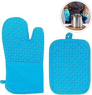 Bligo Ofenhandschuhe und Topfhandschuhe 2er Set, Hitzebeständige Handschuhe bis zu 250, Silikon Anti-Rutsch Grillhandschuhe für Kochen, Backen, Grillen BBQ, Blau