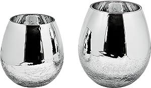 EDZARD Vase en Verre Esther avec revêtement argenté 21 cm