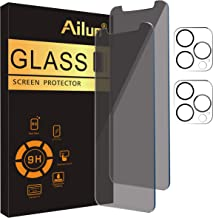 Ailun 2 Pack Privacy Screen Protector Compatible for iPhone 12 Pro Max[6.7 inch] + 2 Pack Camera Lens Protector,Anti-Spy Tempered Glass Film,[black][9H Hardness] - HD