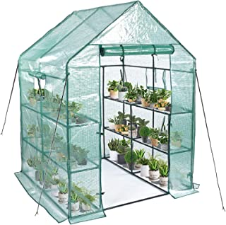 Greenhouse,Mini Greenhouse Indoor&Outdoor with PE Cover,3 Tiers 8 Shelves Stands Greenhouse,Include Windows,Anchors and Ro...