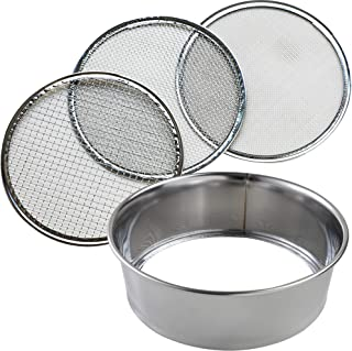 Hanafubuki 3PCS Soil Sieve Set 8-1/4inch(210mm), Made in Japan, 3 Sieve Mesh Filter Sizes, Japanese Bonsai Gardening Tool ...