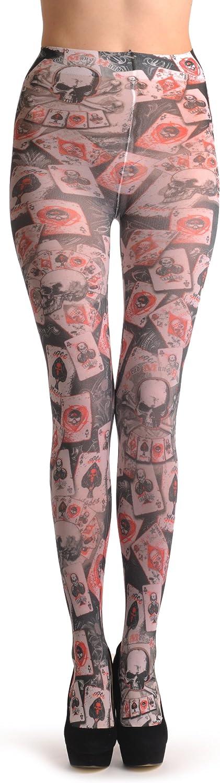 Gothic Poker Skull - Multicoloured Designer Pantyhose (Tights)