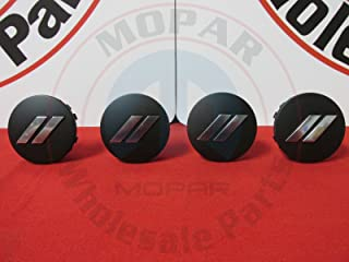 DODGE CHALLENGER CHARGER Matte Black Chrome Stripe Wheel Center Cap Set Of 4 OEM