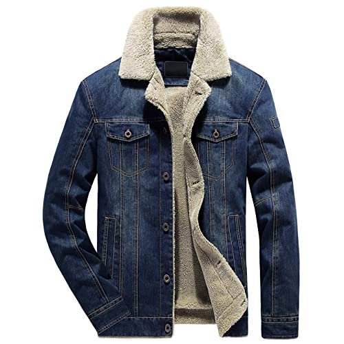 3419ff1b7a01 chouyatou Men s Classic Button Front Rugged Sherpa Lined Denim Trucker  Jackets