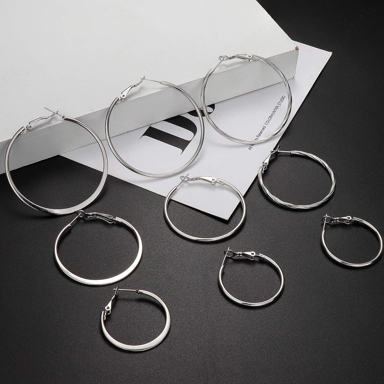 JOERICA 9 Pairs Hoop Earrings for Women Stainles Steel Big Hoop Earrings Set Flattened Twist Hoop Loop earrings 30/40/50MM