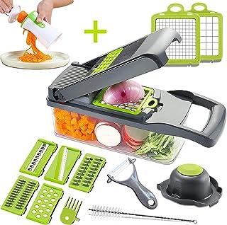 Mandoline Slicer Adjustable Cheese Slicer,Vegetable Chopper Hand Spiralizer,Potato Spiral Cutter Garlic Onion Dicer Fruit Peeler,Veggie Slicer,Pasta Zucchini Noodle Maker,Salad Shooter,Food Processor
