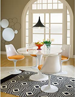 Modway Lippa Mid-Century Modern Upholstered Fabric Swivel Kitchen and Dining Room Chair in Orange