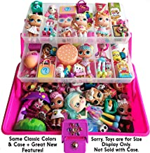 SHOPAFUN Felix and Wise Pink /Purple LOL Doll Case, Shopkins Organizer / Shoppies & Mini Pack & Small Toys Storage Organizer Case (2 Trays, 3 Levels) 3D Gem Surprise Art Stickers 1 Neoprene Play Mat