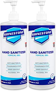 RHINESTONE 32 Fl Oz. Topical Gel Hand Sanitizer, [2-Pack] Advanced No-Rinse Gel, 75% Ethyl Alcohol, Made in...