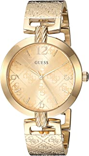 GUESS Gold-Tone Stainless Steel Logo Bracelet Bangle Watch with Self-Adjustable Links. Color: Gold-Tone (Model: U1228L2)