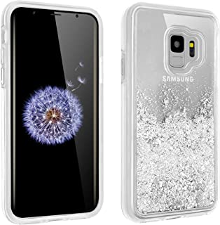 Samsung Galaxy S9 Plus Liquid Quicksand Glitter Case Shockproof Bling Waterfall Robot Cute Girl Women Shiny Luxury Soft Clear Rubber Commuter Defender Cover for GalaxyS9 +(Silver, S9Plus/S9+)