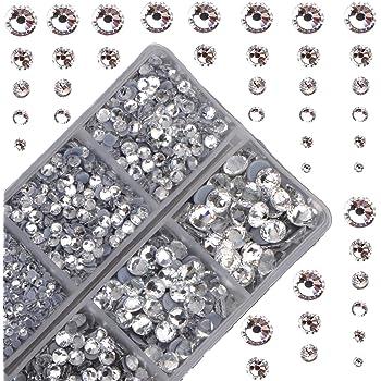 4000 piezas de cristales redondos de gran tamaño para fijar en caliente con piedras de vidrio y parte trasera plana., cristal transparente, 1