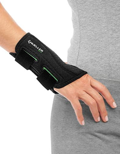 MUELLER Green Fitted Wrist Brace, Black, Right Hand, Large/Extra Large 8-10 (86273)