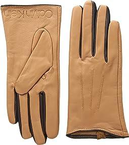 Leather Gloves w/ Color Pop & Debossed Logo