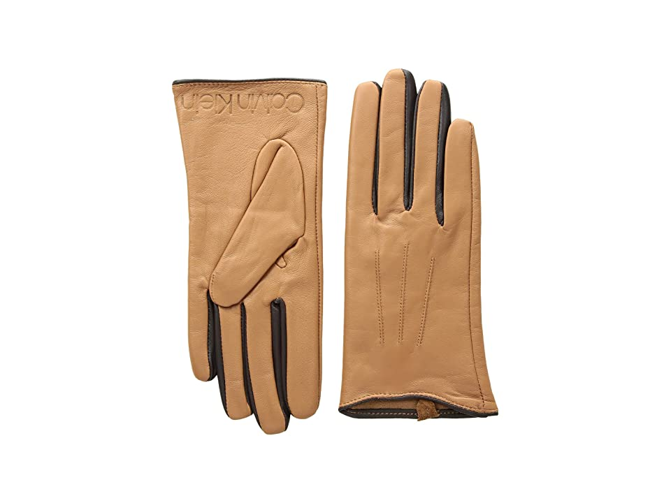 Calvin Klein Leather Gloves w/ Color Pop Debossed Logo (Camel) Extreme Cold Weather Gloves