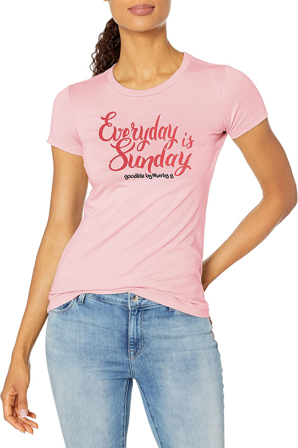 Marky G Apparel Womens Short Sleeve Crewneck Tops Slim Fit T-Shirt with Every Day is Sunday Printed