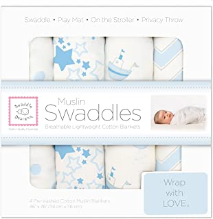 SwaddleDesigns Cotton Muslin Swaddle Blankets, Set of 4, Pastel Blue Nautical Little Ships Fun