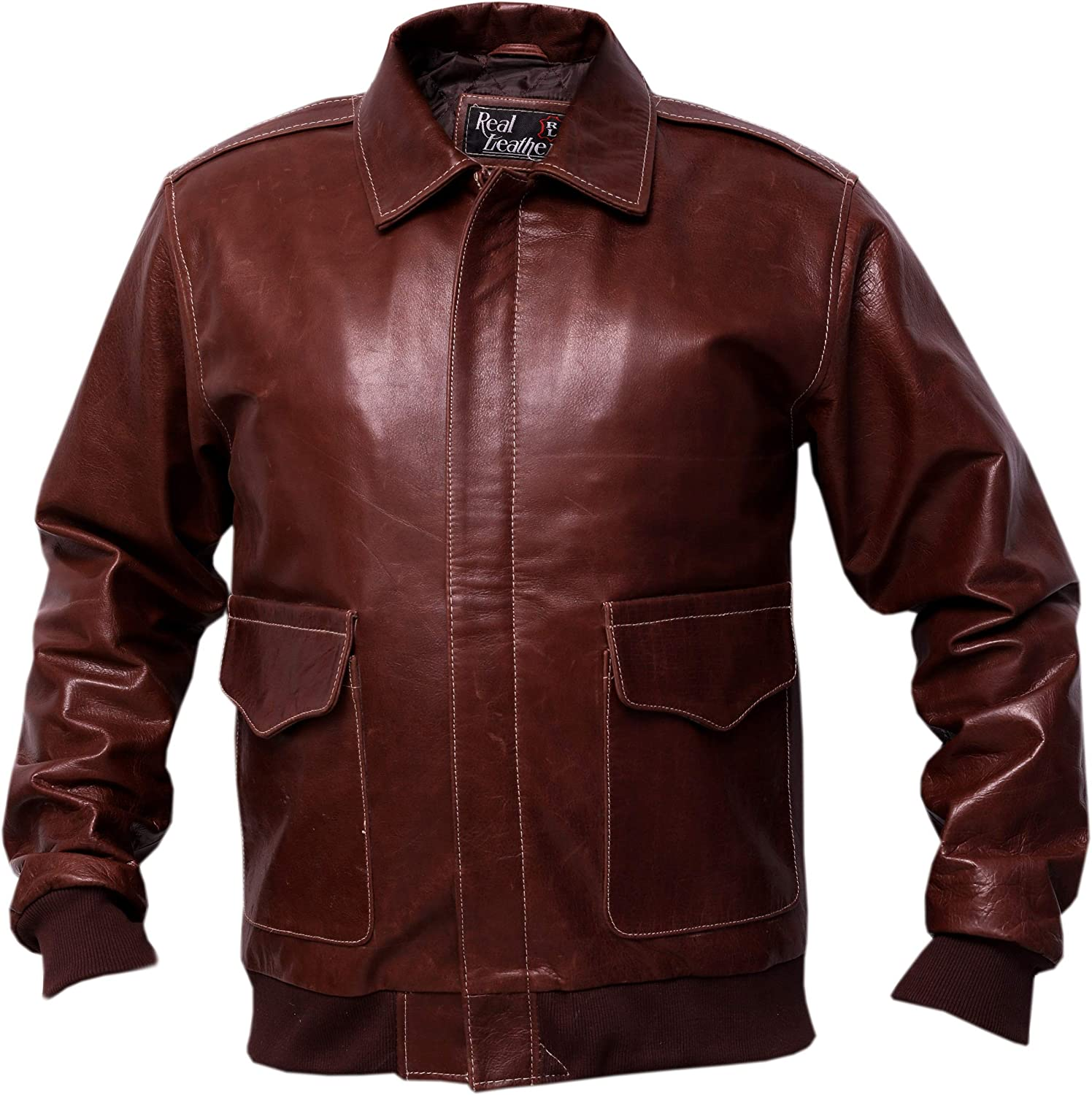 A2 Brown Distressed Cowhide Leather Bomber Aviator Jacket