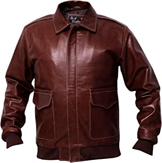 A2 Russet Brown Distressed Cowhide Leather Bomber Aviator Jacket