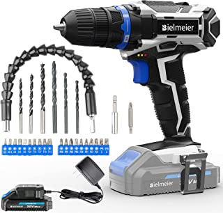 Bielmeier Cordless Drill Set, 20V MAX Lithium-Ion Power Drill Cordless, Electric Drill with Variable Speed, LED and 29pcs ...