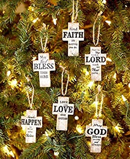 The Lakeside Collection Set of 6 Sentiment Cross Ornaments - Cross Ornaments