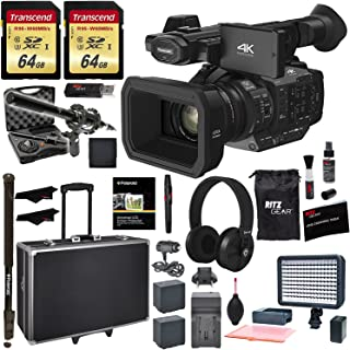 Ritz Camera Panasonic HC-X1 4K Ultra HD Professional Camcorder, 2X Transcend 64GB, Monopod, 2X Battery, Charger, Microphone Kit, LED Light and Accessory Bundle