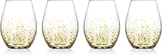 wine glasses with gold dots