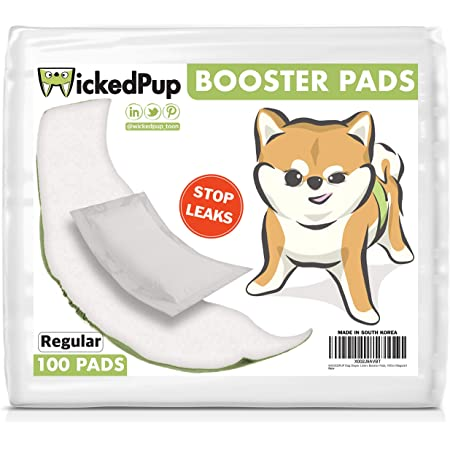 WICKEDPUP Dog Diaper Liners Booster Pads for Male and Female Dogs, 100ct | Disposable Doggie Diaper Inserts fit Most Reusable Pet Belly Bands, Cover Wraps, and Washable Period Panties