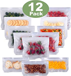 Greenzla Reusable Storage Bags (12-Pack) –FDA Grade PEVA Reusable Ziplock Lunch Bags -EXTRA THICK Freezer Safe Sandwich Bags For Food and Kitchen Organization – BPA FREE Snack Bags - 9 Large & 3 Small