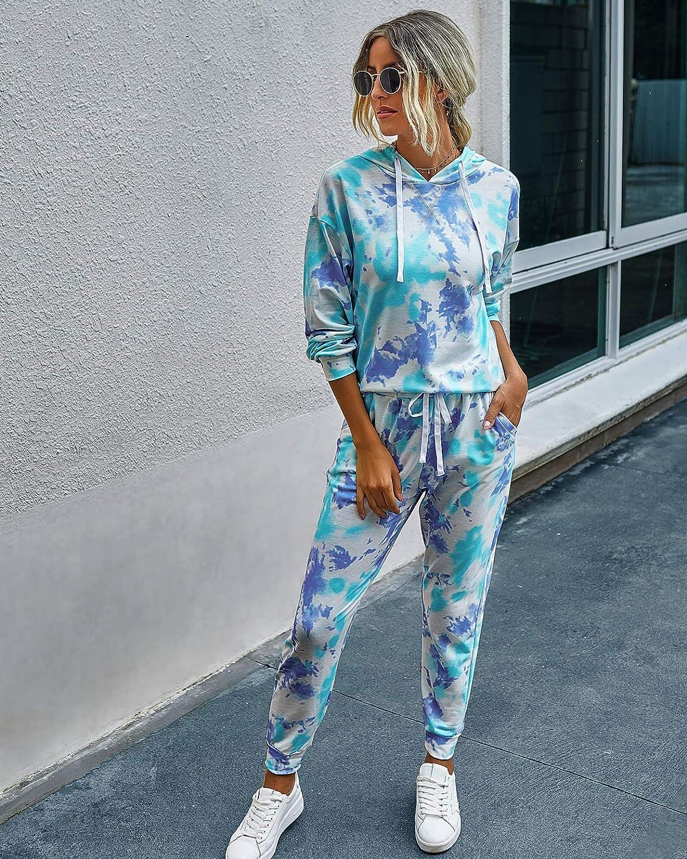 PRETTYGARDEN Women/'s Tie Dye Two Piece Pajamas Set Long Sleeve Sweatshirt with Long Pants Sleepwear with Pockets
