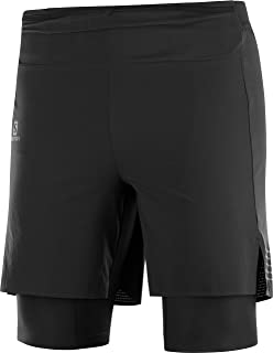 SALOMON Mens EXO Motion Twinskin Running Short, Black, X-Large
