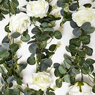 Eucalyptus Garland With Roses - Wall Decorations/Wedding Greenery/Kitchen Decor/Artificial Outdoor Wreath/Home Decoration - Fake Vines/Leaves Backdrop -Table Plants - Hanging Faux Ivy - Wall Decor