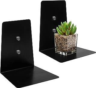 MyGift Modern 7-Inch Rectangular Black Metal Floating Accent Shelf, Set of 2