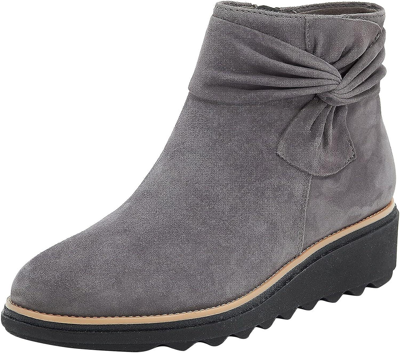 Fashion Women's Bowknot Wedge Heel Side Zipper Warm Casual Short Boots