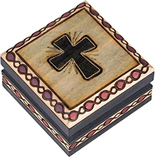 Christian Cross Brass Inlay Hand Crafted Decorative Wood Box - Made in Poland