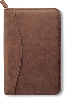 $42 » Day-Timer Simulated Distressed Leather Organizer Starter Set, Zip Closure, 8.5 x 5.5 Inches, Brown (D43074)