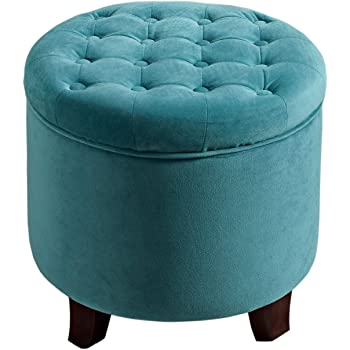 """HomePop Velvet Button Tufted Round Storage Ottoman with Removable Lid, 19"""" x 18"""", Teal"""