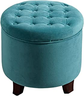 HomePop Velvet Button Tufted Round Storage Ottoman with Removable Lid, Teal