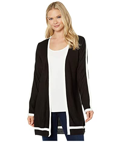 Calvin Klein Open Cardigan with Contrast Piping (Black) Women